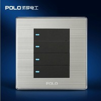 Free Shipping,POLO luxury wall switch panel, Fluorescence panel, Light switch, Tap switch,110~250V,4 Gang 2 Way