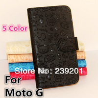 1pcs High Quality Luxury PU Leather Lovely Cover Case For Moto G Phone XT1028 XT1031, with Card Holder design (P1-XMN01)