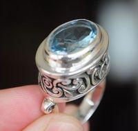 B955 topaz stone carved 925 silver ring 14