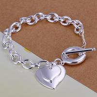 2014 Hot sale H283  Wholesale 925 silver bracelet, 925 silver fashion jewelry big love heart charm bracelet  best gift
