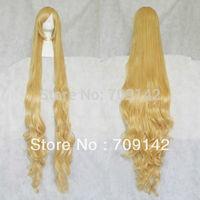 "60"" queen brazilian women's made Kanekalon wigs  Blonde Stylish Curly Hair Long Cosplay Wavy Wig 150cm"
