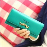 New 2014 spring female Korean metal mustache wallet two fold wallet  Long wallet