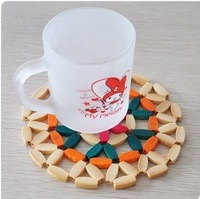 Free Shipping 5pcs Novelty household daily necessities Bamboo Table Desk Cup Pad Place mat Tableware Mat Coaster New