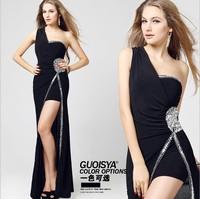 Free Shipping Women's Fashion Black/Red/BlueChiffon Long Prom Party Gown Formal Evening Dress 2014