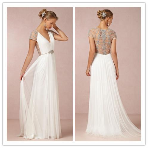 di lusso scollo a v piano di lunghezza indietro molto semplice di perline abiti da sposa bianco 2014 una linea di abito da sposa vestidos de noiva vestito da partito
