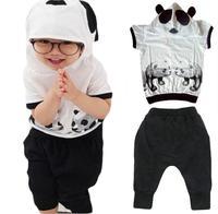 Hot Retail 2014 New Design 100% Cotton Kids Cartoon Clothes Panda Sweater Children's Wear Hoodie Harem Pants Free Shipping