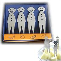 Smiley stainless steel fruit fork 4pcs/set