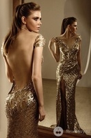 2014 New Design Fashion Custom Made V-Neck Cap Sleeve Long Prom Gowns Sequined Mermaid Formal Evening Dresses