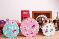 Free Shipping!2014 New Flower design Metal storage case 3pc/set Iron box  Round Shape Storage container Tin case  cupcake case