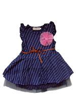 2015 Retail Latest Design Girls Flowers Dot Sleeveless Dress With Belt Dress Dot Princess Dress Free shipping