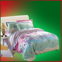 Home textile satin sheets bedding reactive print pure piece set bed sheets bedding 100% cotton duvet cover
