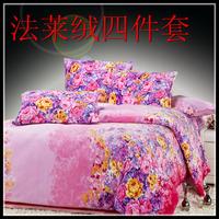 Bed blanket thermal FL velvet piece set bed sheets fitted flannel piece set duvet cover