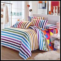 Brief wedding bedding 100% cotton sheets slanting stripe duvet cover full cotton sanded 100% four piece set