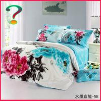 Textile cotton 100% cotton four piece set reactive print duvet cover bed sheets kit
