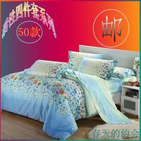 Home textile bedding 100% cotton 100% cotton four piece set reactive print bed sheet sanded kit