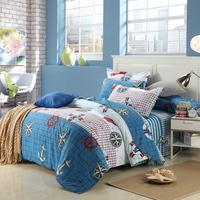 Single three piece set double piece set 100% cotton kit child bedding adult bedding four piece set