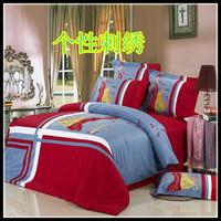 High quality home textile bedding personalized 100% cotton four piece set color block nork decoration 4 bedrug four piece set