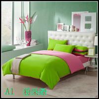 Home textile bedding 100% cotton four piece set 100% cotton princess piece set double solid color bedding