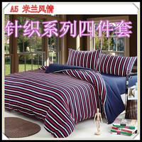 Home textile bedding 100% cotton four piece set 100% cotton knitted fitted four piece set bed sheets kit pillow
