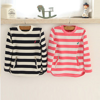 2014 spring and autumn female child zipper stripe t-shirt child long-sleeve basic shirt