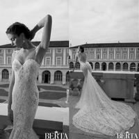 Noble Fashion New Custom Made Spaghetti Strap Sweetheart Lace Mermaid Bridal Gowns Wedding Dresses 2014