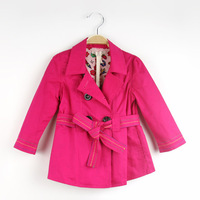 Children outerwear New 2013 autumn girls trench coats kids fashion double-breasted with belt coat baby wear warm coat 8pcs/lot