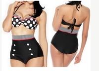 2014 Sexy With Cup High Waist push up women Swimwear Swimsuit weave dot Women Sexy swim wear Bikini Bathing Suit BIKINIS-273