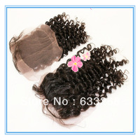 New Hair Style Spiral Curly Peruvian Human Hair Lace Closure 4x4 Freeshipping