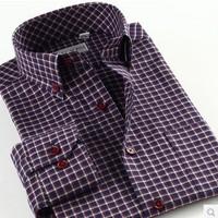 Men Long Sleeve Casual Plaid Shirt Flannel Cotton Slim Fit Shirts New 2013 Autumn-Summer