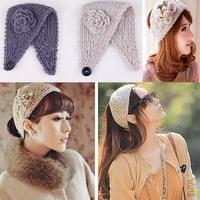 Free shipping Women Crochet  Winter Ear Warmer Headwrap headband hair accessory   ribbon yarn wide knitted  flower hair rope