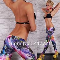 ML7638 Free Shipping Seamless New Fashionable Colorful Print Galaxy Girls Leggings Beautiful 2014 Pants Women