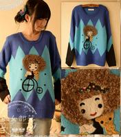 Women's Thickening Cartoon Rhombus Medium-long Pullover Knitted Sweater Cute Shirt Outerwear