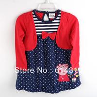 New Nova kids wear baby girls clothing dress girl dress for Children clothing 100% cotton Peppa pig fashion embroidery H4351#