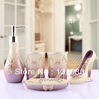 Free shipping noble purple High-heeled shoe series bathroom set 5pcs/set bath set with toothbrush holder wedding gift OYHH-5
