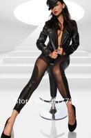 ML7644 Free Drop Shipping Transparent Leather Disco Leggings Girls Full Length Sheer Wet Look Black Pants Leggings For Women