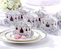 "Free Shipping 100pcs ""Enchanted Carriage"" Fairytale Themed Favor Box/Wedding Boxes Cinderella Pumpkin Carriage Candy Boxes"