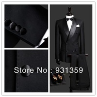 High quality customized black double breasted business mens suits design male suits (Jacket+Pants+Tie+Vest) TX125 custom suit