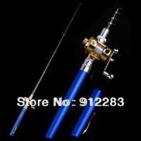 Free Shipping Blue Mini Pocket Aluminum Alloy Pen Fishing Rod Pole w/ Reel SZ069