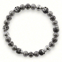 2014 new! New design Wholesale Free shipping silver jewelry / 925 silver beautiful crystal beads bracelet adjustable size TH225