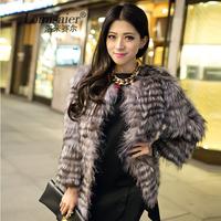 New arrival 2014 fashion medium-long women's long-sleeve hot-selling real natural silver fox fur coat horizontal cut strip Y9P0