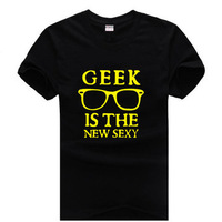 new brand 2014 fashion letter print GEEK is the new sexy man male sitcoms sports cotton short-sleeve T-shirt t shirt top tee