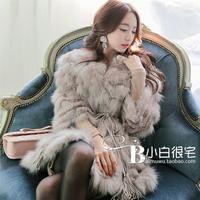 2014 new spring autumn and winter luxury queen long fox fur rabbit fur coat patchwork fur coat Y9P1