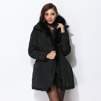 Autumn and winter fashion twinset fashion raccoon fur vest medium-long wadded jacket set