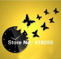 Home decoration!  DIY mirror wall clocks 3D Acrylic wall clock 8 PCS BUTTERRLIES Free Shipping!
