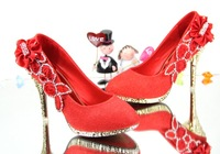 High heel wedding shoes rhinestone flower gold bridal shoes bridesmaid shoes red banquet