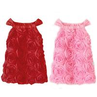2014 newest fashion girls dress ,baby rose vest one-piece dress summer, child dress , free shipping