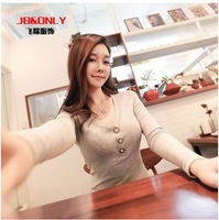 Free Shipping Jbonly 2014 The Newest Spring long-sleeve slim cotton sexy V-neck  female shirt and t-shirt