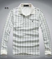 2014 Top Brand Men's turn-down collar plaid long-sleeve BaoLuo commercial 100% cotton autumn shirt T-shirt 4Colors S-XXXL