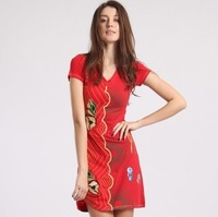 Red women's desigual fashion embroidered knitted one-piece dress