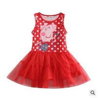 Retail One Pcs!  2014 New Arrive Cotton Peppa Pig Clothing Baby Dress For Girls Summer Dress Girl Free shipping